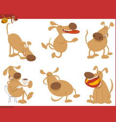 cute dog cartoon characters vector image