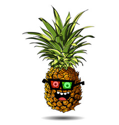 cute fresh pineapple cartoon character emotion 3d vector image