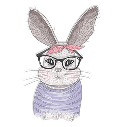 Cute hipster rabbit with glasses vector image