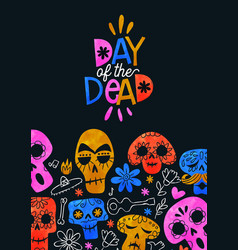 day dead card cute watercolor skull cartoon vector image
