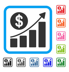 Dollar growth graph framed icon vector