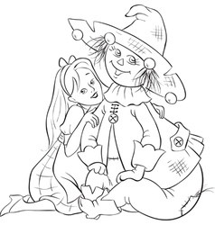dorothy and scarecrow wizard oz outlined vector image