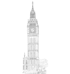 Drawing london big ben vector