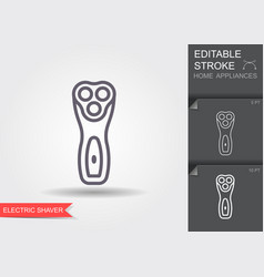 electric shaving machine line icon with editable vector image