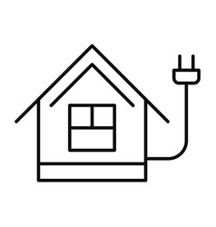 Energy save home icon outline style vector