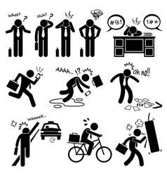 Fail businessman emotion feeling action stick vector