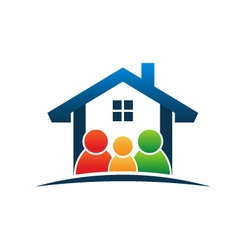 Family in house logo vector image