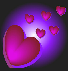 festive violet background with hearts bokeh and vector image