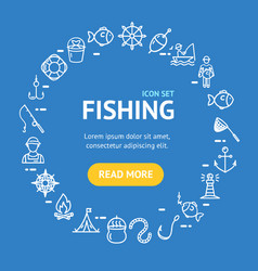 Fishing signs round design template thin line icon vector