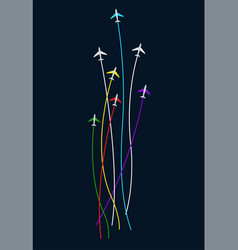 flying up colored planes with stripes behind vector image