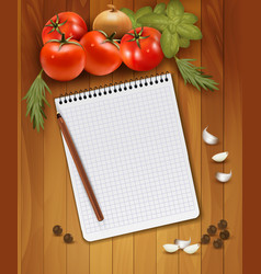 Fresh vegetables and spices on a wooden background vector