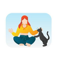 girl doing yoga with cat cartoon character vector image