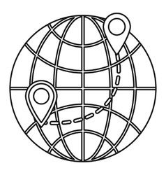 Globe icon outline style vector image