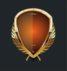 Golden shield and laurel wreath retro design 07 vector