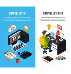 graphic design isometric banners vector image