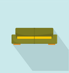 Green modern sofa icon flat style vector