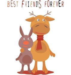 Greeting card for friend with deer and rabbit vector image