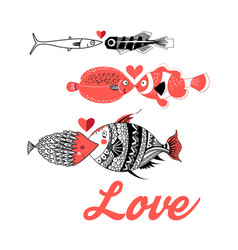 greeting card with love fish vector image