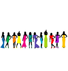 group of beautiful young women models vector image