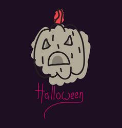 halloween pumpkin with face on dark background vector image
