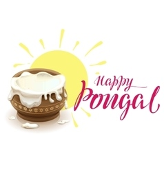 Happy Pongal lettering text for greeting card vector