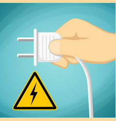 Human hand with an electric plug warning sign vector