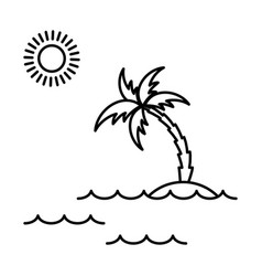 island with palm icon vector image