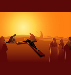 jesus is nailed to the cross vector image
