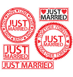 just married stamp set vector image