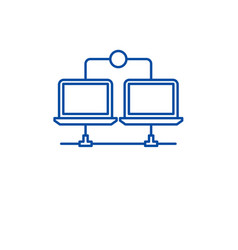 Lan network line icon concept lan network flat vector