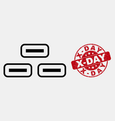 linear bricks icon and distress x-day stamp vector image