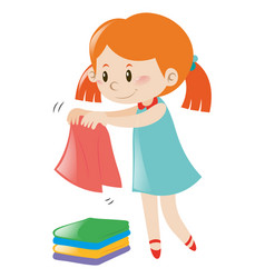 Little girl in blue dress folding clothes vector
