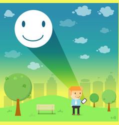 Man through the emotional smile resonance on vector