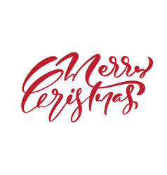 merry christmas red calligraphic hand vector image