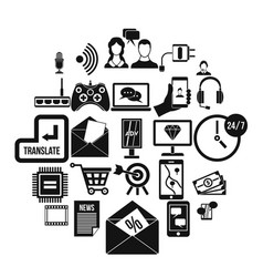 mobile device icons set simple style vector image