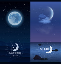 Moonlight banners vertical set vector