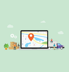 Online delivery service with laptop and gps pin vector