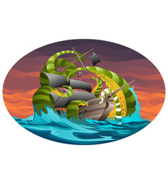 oval poster with sea ship captured by octopus vector image