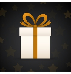 Paper gift box on black background with stars vector image
