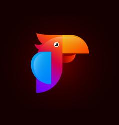 Parrot red logo design vector