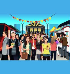 People in street food festival vector