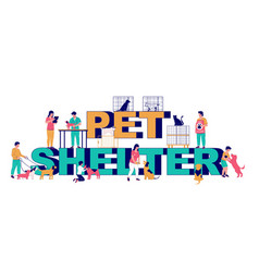 pet shelter typography banner template vector image