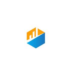 polygon business graph company logo vector image