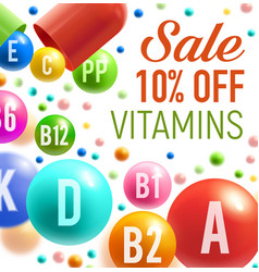 Poster for vitamins and multivitamins sale vector