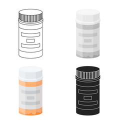 Prescription bottle icon in cartoon style isolated vector