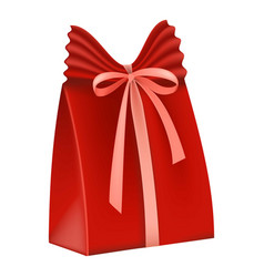 Red gift box icon flat style vector