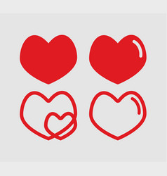 Red hearts set valentines day vector