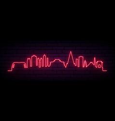 Red neon skyline pyongyang bright pyongyang vector