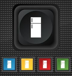 Refrigerator icon sign symbol Squared colourful vector