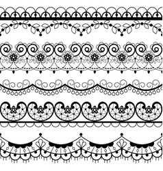Retro lace seamless pattern set black and white vector
